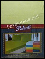 Простынь на резинке махровая с наволочками Polents желтая - Турция (kod 3414)
