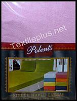 Простынь на резинке махровая с наволочками Polents розовая - Турция (kod 3415)