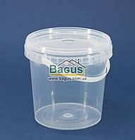 Ведро 1л из пищевого пластика круглое с крышкой (прозрачное)