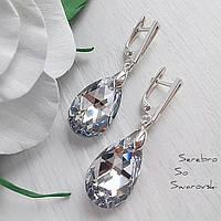 Шикарные классические серебряные сережки с камнями Сваровски с ослепительным зеркальным эффектом