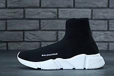 Кроссовки женские Balenciaga Knit High-Top Sneakers Black/White баленсиага . ТОП Реплика ААА класса., фото 2
