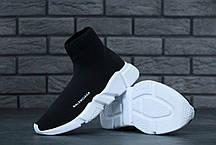 Кроссовки женские Balenciaga Knit High-Top Sneakers Black/White баленсиага . ТОП Реплика ААА класса., фото 3