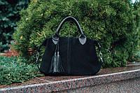 Женская кожаная сумочка. Модель 20 черный замш/флотар