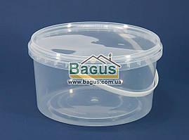 Ведро 1,5л из пищевого пластика круглое с крышкой (прозрачное)