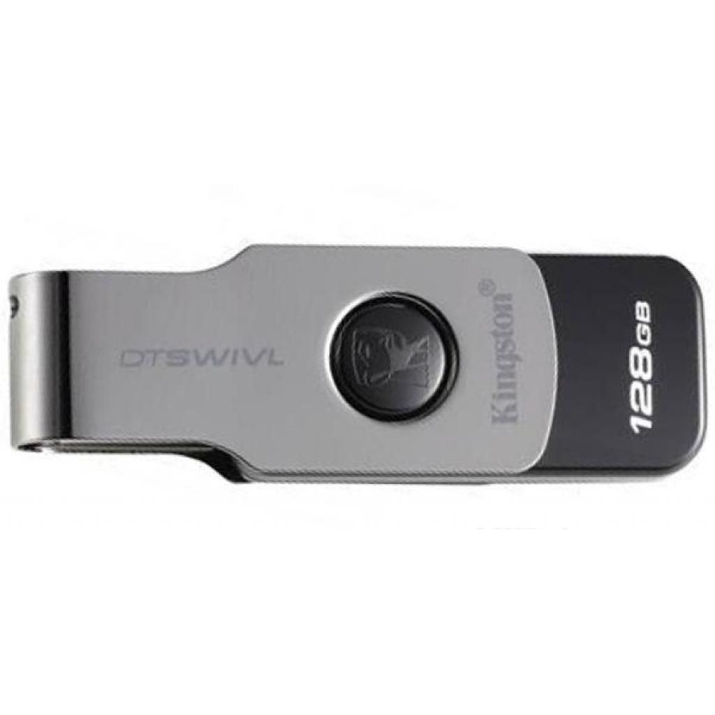 Флешка USB 3.0 128 Gb Kingston DT Swivel Design Metal/Black, DTSWIVL/128 Gb