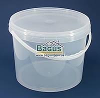 Ведро 10л из пищевого пластика круглое с крышкой (прозрачное)