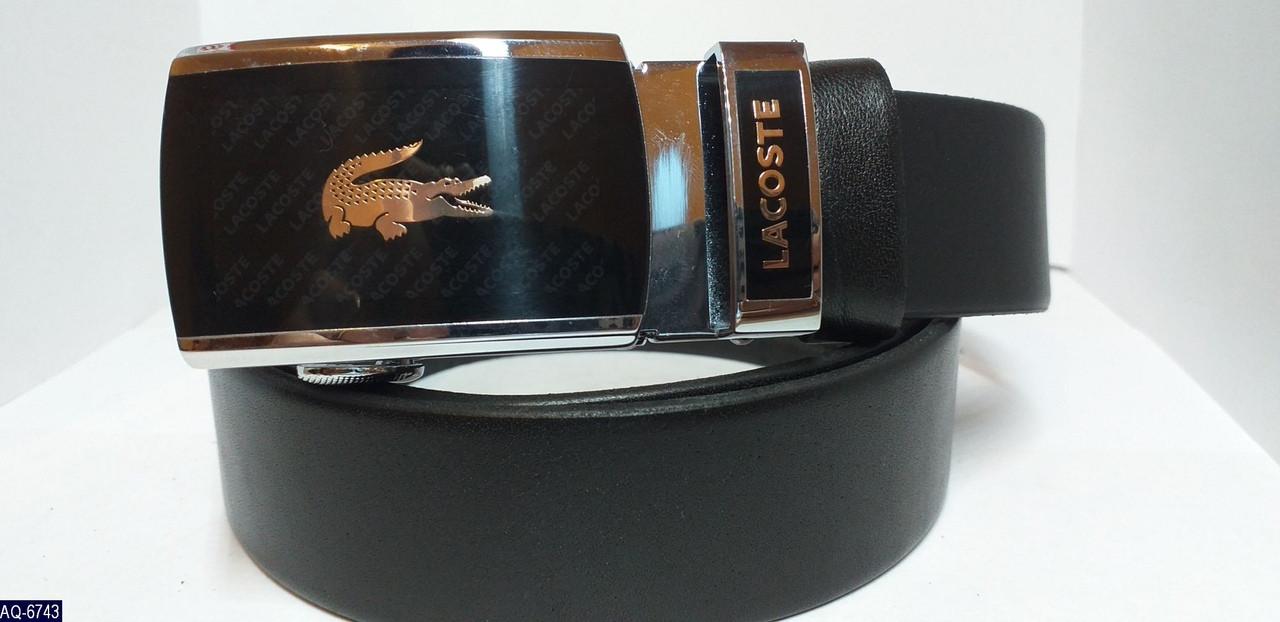 Ремень мужской Lacoste Брендовый кожаный автомат Ширина 3,5 см длина 115-125 см