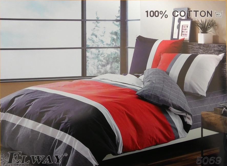 Сатиновое постельное белье полуторное  ELWAY  5069