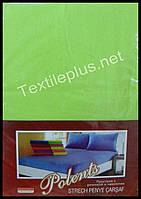 Простынь на резинке трикотажная с наволочками Polents салатовая - Турция, фото 1