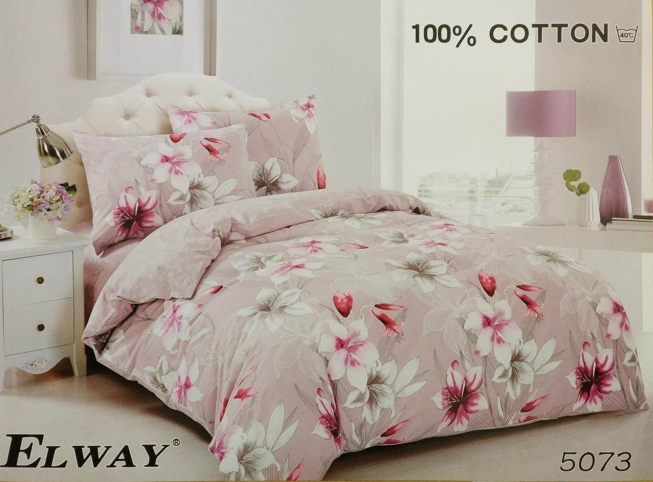 Сатиновое постельное белье полуторное  ELWAY 5073