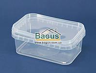 Емкость 0,5л из пищевого пластика прямоугольная с крышкой (прозрачная)