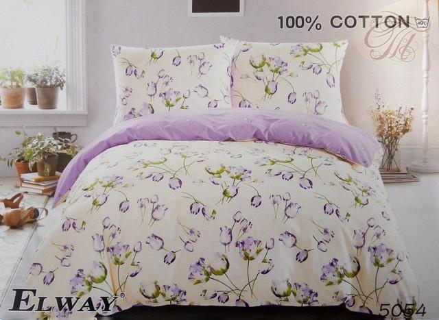 Семейный комплект постельного белья ELWAY 5054 сатин