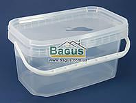 Емкость 5л из пищевого пластика прямоугольная с крышкой (прозрачная) и ручкой