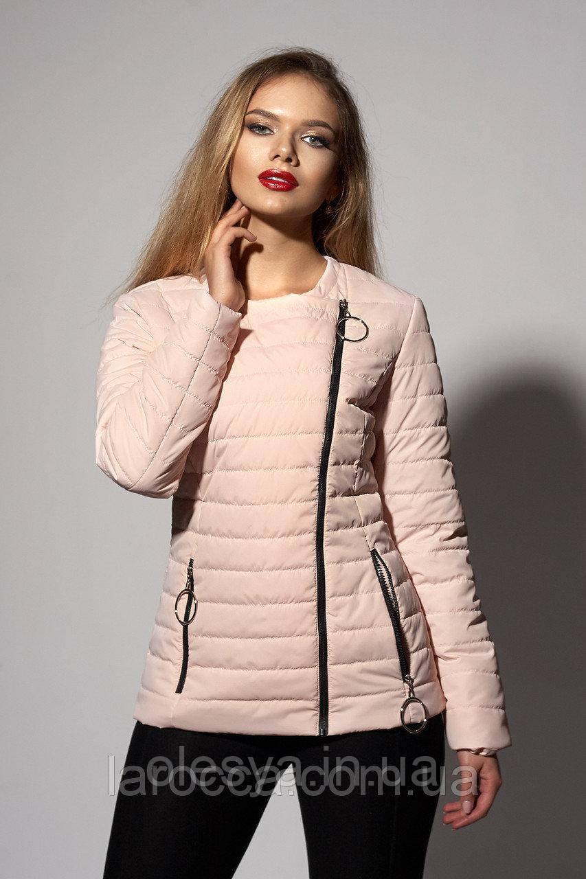 Женская молодежная демисезонная куртка. Код модели К-114-37-18. Цвет пудра.Размер 44,46