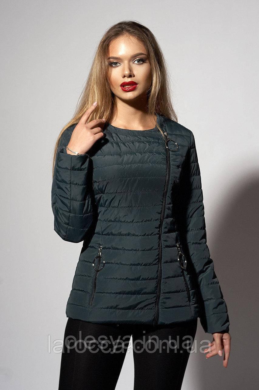 Женская молодежная демисезонная куртка. Код модели К-114-37-18. Цвет зеленый. Размер 44- 52
