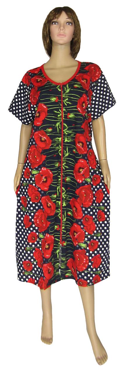 Халат женский летний домашний 18013 Flat Color Batal / Красные маки / коттон, р.р.52-66