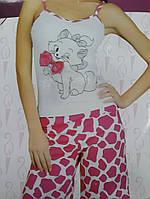 Пижама капри и майка кися с бантиком