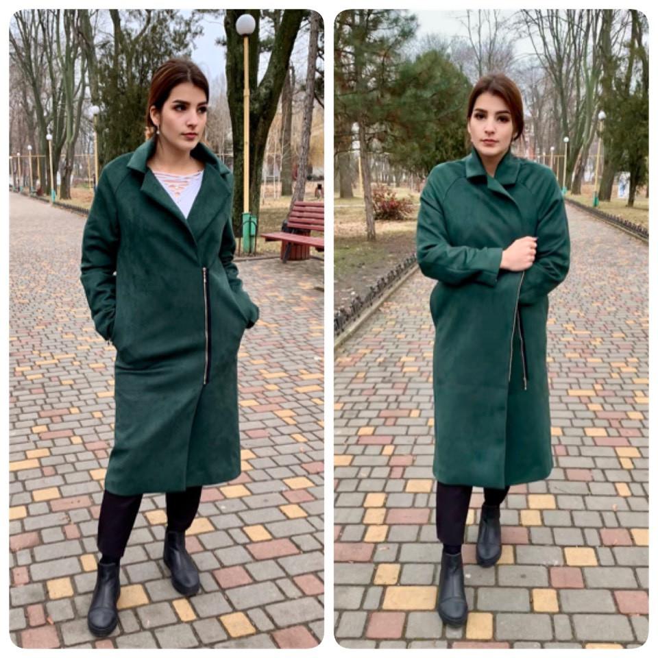 M100 Пальто женское замш на подкладке oversize  зеленый / бутылочный