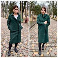 M100 Пальто женское замш на подкладке oversize  зеленый / бутылочный, фото 1