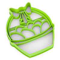 Вырубка для пряников Корзинка с яйцами 9,5*7,5 см (3D)