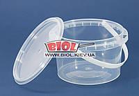 Ведро 0,5л пищевое (ø11см, h-7,5см) пластиковое круглое прозрачное с крышкой и ручкой