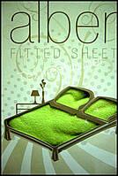 Простынь на резинке махровая Alber зеленая - Турция (kod 3429)