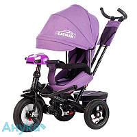 Трехколесный велосипед Tilly Cayman T-381/2 с пультом,  надувные колеса, до 25кг Фиолетовый лен