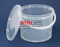 Ведро 3,3л пищевое (ø18,5см, h-15см) пластиковое круглое прозрачное с крышкой и ручкой
