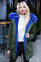 Куртка парка женская хаки зимняя с капюшоном