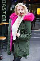 Куртка парка женская хаки+малина зимняя с капюшоном