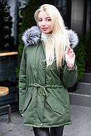 Куртка парка женская хаки+серый зимняя с капюшоном
