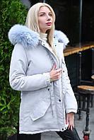 Куртка парка женская серый+голубой зимняя с капюшоном