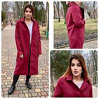 Пальто кардиган женское замш на подкладке арт.M100 вишневый, фото 1