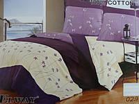Сатиновое постельное белье евро  ELWAY 029