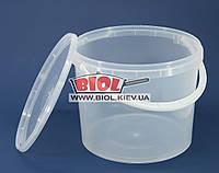 Ведро 5л пищевое (ø21см, h-17,5см) пластиковое круглое прозрачное с крышкой и ручкой