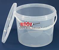 Ведро 10л пищевое (ø27см, h-22см) пластиковое круглое прозрачное с крышкой и ручкой