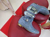 Полусапожки демисезонные и летние кожаные OLLI голубые.