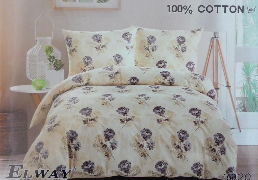 Сатиновое постельное белье евро  ELWAY 3020