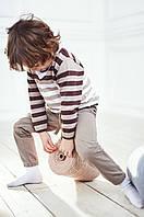 Вязаный джемпер в полоску для мальчика Коричневый