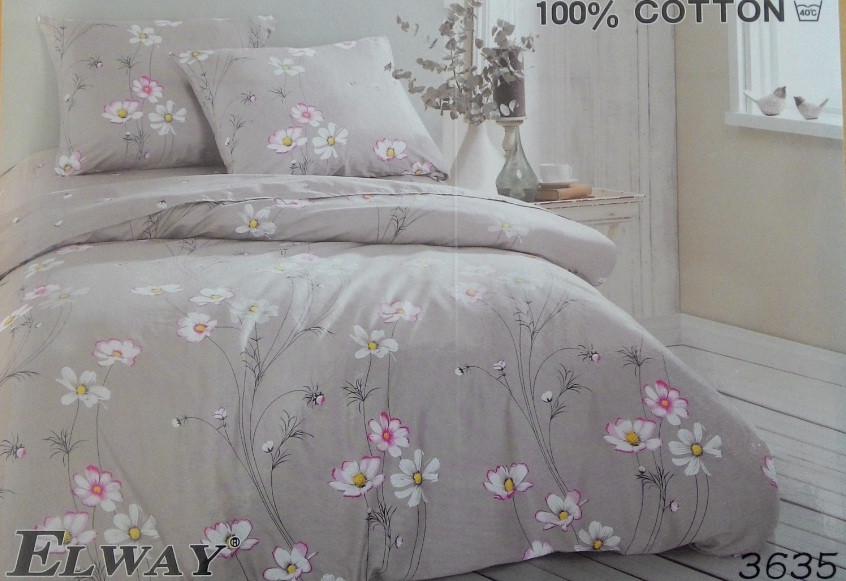 Сатиновое постельное белье евро  ELWAY 3635