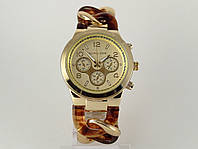 Годинники жіночі Michael Kors плетений браслет з коричневими ланками, фото 1