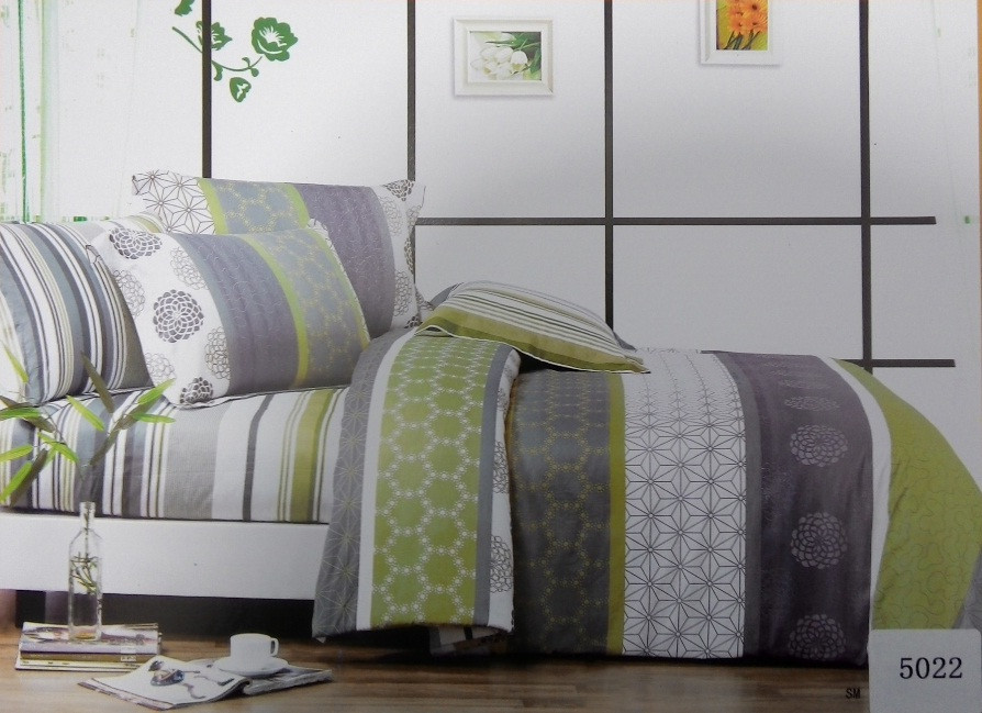 Сатиновое постельное белье евро  ELWAY 5022