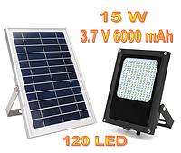 Уличный светильник на солнечной батарее  с датчиком освещенности 15 Вт 120 LED 3.7 В/6000 мАч, фото 1