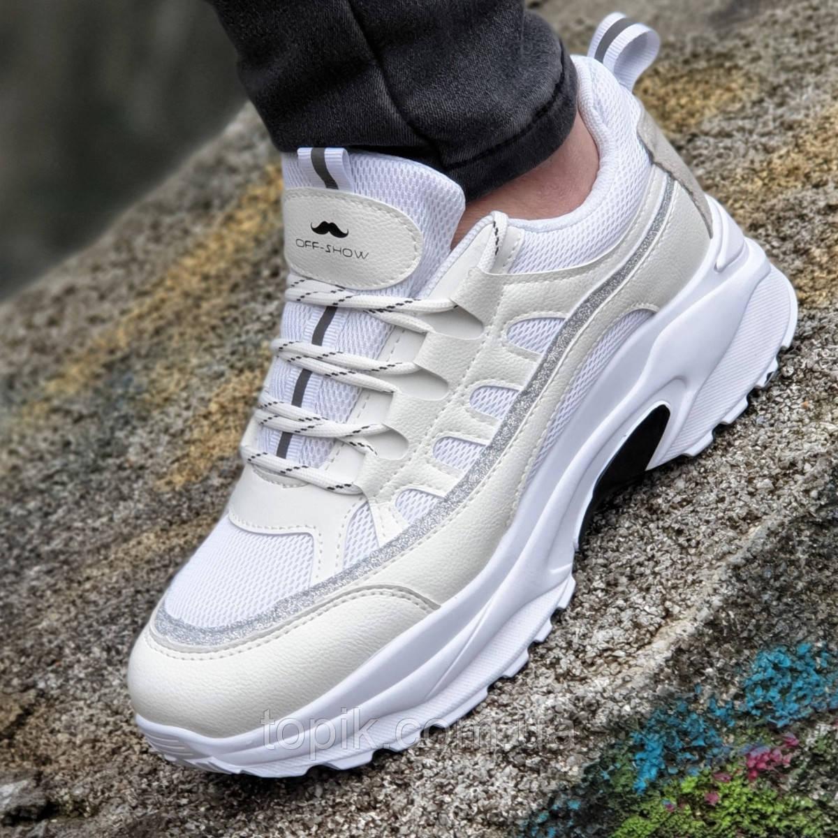 03fcb9aa Женские белые кроссовки сетка мягкие и удобные адаптивная стелька на весну  лето (Код: 1342