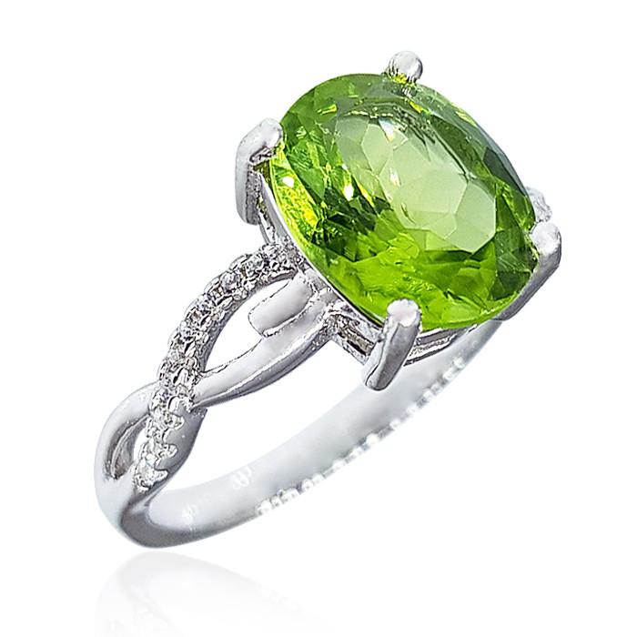 Кольцо серебряное с хризолитом (перидот, оливин) 083 размер 18