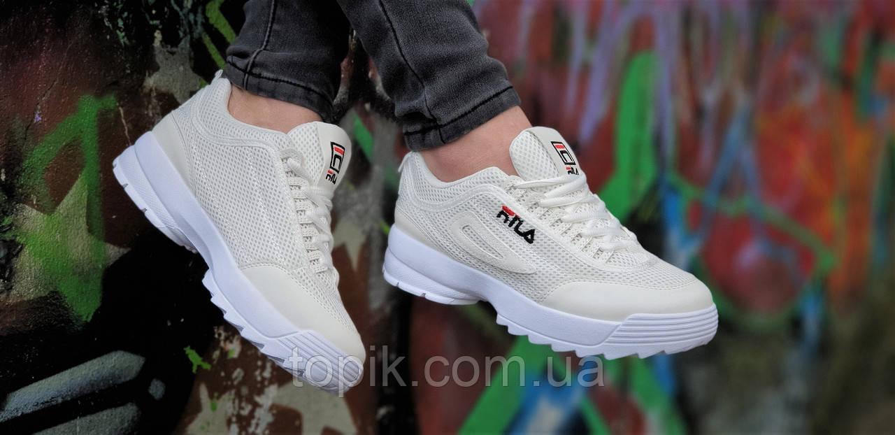 23da174b ... Женские кроссовки на высокой подошве, сетка бежевые реплика FILA легкие  и удобные (Код: ...