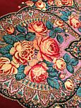Рожеві дали 1639-6, павлопосадский хустку вовняної (двуниточная шерсть) з шовковою бахромою, фото 3