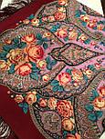 Рожеві дали 1639-6, павлопосадский хустку вовняної (двуниточная шерсть) з шовковою бахромою, фото 5