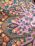 Рожеві дали 1639-6, павлопосадский хустку вовняної (двуниточная шерсть) з шовковою бахромою, фото 4