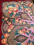 Рожеві дали 1639-6, павлопосадский хустку вовняної (двуниточная шерсть) з шовковою бахромою, фото 6